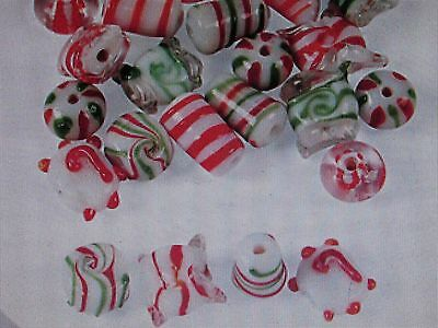 12 CANDY CANE COLORED Christmas GLASS BEADS lampwork FREE S/H bead beading craft