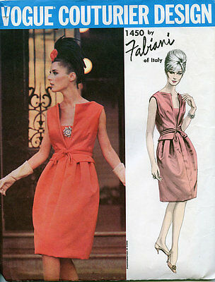 Vintage 60's VOGUE COUTURIER 1450 FABIANI -DRESS/EVENING/SHORT Sewing Pattern