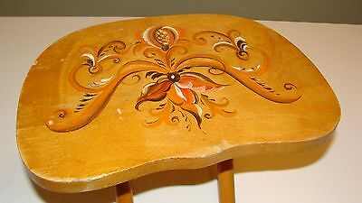 Vintage NEVCO Fold'N Carry Tole Painted Wood Stool - Made in Yugoslavia
