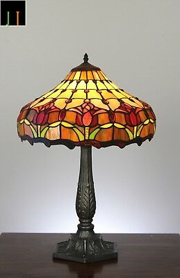 """16"""" JT Tiffany Tulip Style Stained Glass Table Lamp Light Home Leadlight Decor"""
