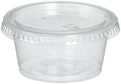 Reditainer Plastic Disposable Portion Cups Souffle Cup with Lids 2-Ounce 100-...