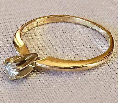 Antique Vtg 14K Yellow Gold Prong Set Genuine Diamond Solitaire Small Ring