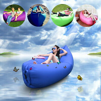 Inflatable Lazy Air Lounger Chair Sleeping Camping Bed Beach Sofa Bag Hiking AU