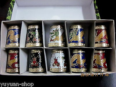 12PCS Wholesale Asian Various Design Lots Cloisonne Thimbles In Original Box