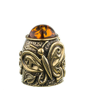 Russian Thimble Сollection, Brass, Baltic amber