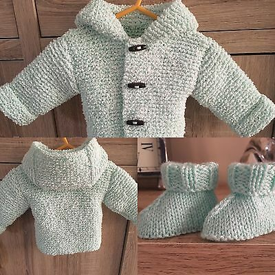 Hand Knitted Baby Cardi Coat 0 To 6 Months New & Uggy Bootees & Mitts Unisex