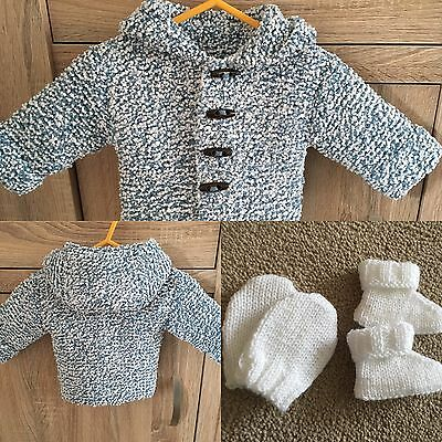 Baby Boys Cardi Coat 0-6 Months New & Uggy Bootees & Mittens Newborn Hand Knit