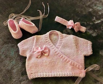 Baby Girl Ballet Cardigan Headband And Pumps New Hand Knit Matching Set