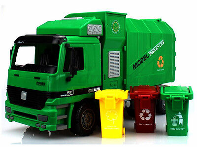 1:22 Side Loading Garbage Truck Toy with 3pcs Trashes Inertia Automatic Lifting