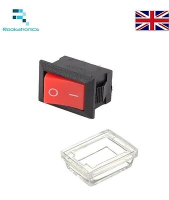 Red Mini Rocker Switch 250V 3A 3 pin 10 X 15mm ON/OFF -Optional Waterproof Cover