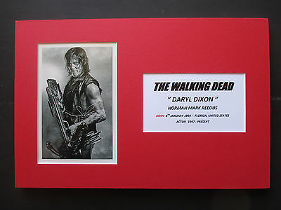 "The Walking Dead ""daryl Dixon"" - Norman Reedus Signed Printed A4 Mounted Photo"