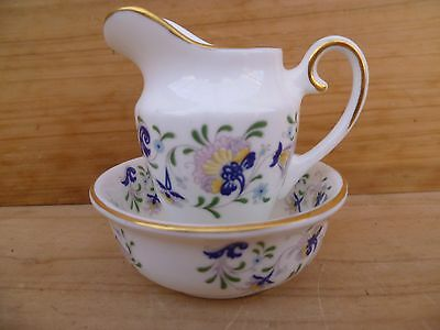 Vintage Old Blue & White Small English Coalport Water Jug Set (B830)