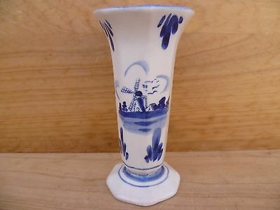 Vintage Old Blue & White Small Dutch Flower Vase,  (B839)