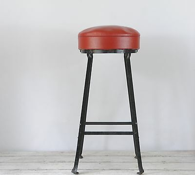 Vintage Industrial Stool Steel Stool Lab Stool Metal With Vinyl Seat Shop Stool • £56.00