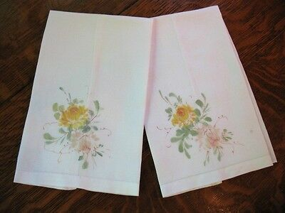 Pair of Vintage Linen Towels Painted Flower Design Matched Set Pretty!