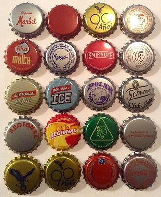 20 Crown Caps Collection from Venezuela, new, beer, soda and ron