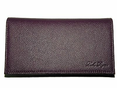 Real Full Grain Leather Checkbook Cover -- Purple 100% SATISFACTION GUARANTEE
