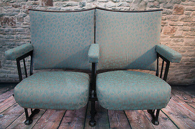 2 Vintage  Cinema Theatre Seating Chairs  Shabby Chic (or row of 3 and row of 4)
