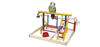 New Colorful Wooden Bird Activity Playground Center W/Food Dish, Ladder, Swing