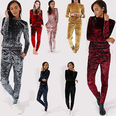 New Women Ladies Velvet Velour Crushed 2Pc Jogging Top Loungewear Tracksuit Set