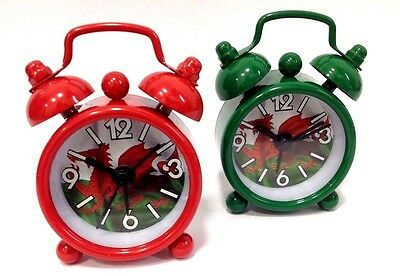 Welsh Dragon Themed Miniature Round Alarm Clock Themed Clock / GREEN / RED