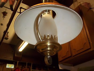 Vintage Copper Pull Down Hanging Ceiling Light Hurricane Chandelier W/ Shade