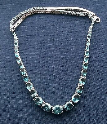 Superb 925 Sterling silver magnificent London Blue Topaz oval tennis necklace 18