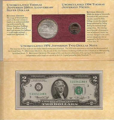 1993 Thomas Jefferson Coinage and Currency Set(Special Edition Frosted Nickel)