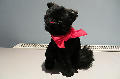 Vintage Sitting Black Fur Cat Glass Eyes Chiltern/chad Valley? Free Uk P&p