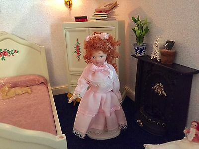 DOLLS HOUSE-PORCELAIN DOLL  1/12TH SCALE  PRETTY pink  DRESS