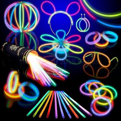 "100 Glow Stick Party Pack- 8"" HotLite Premium bracelets necklaces kits to cre..."