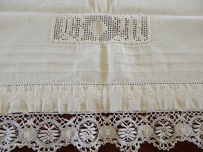 Vintage Linen Damask Towel w Native American Whirling Log Symbol & Monogram Lace