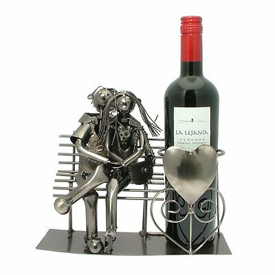 Lucy & Lee Two Lovers Metal Wine Bottle Holder Boxed Gift
