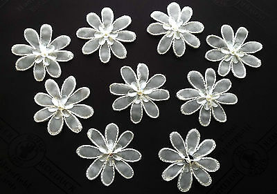 12 White Sew On Flower Appliques Sequined Beaded 35 mm