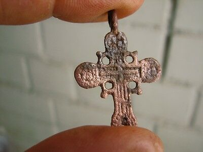Nice Late Medieval Period  Bronze Cross #4850