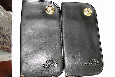Gianni Versace Vintage pair of Leather Sunglass Sleeves Black Made in Italy