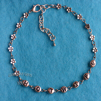 HotWife Daisy Flower Metal Letters Sexy Hot Beaded Anklet / Ankle Bracelet Gift