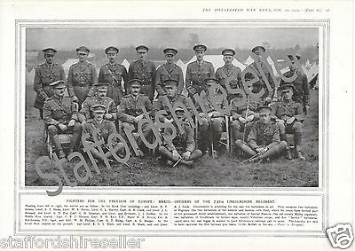 World War 1 Print 1915 Officers 2/4th Lincolnshire Regiment