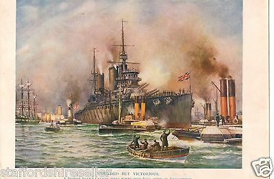 1917 WW1 Original Vintage Print Wounded But Victorious British Battle Cruiser