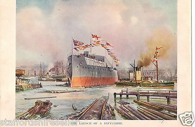 1917 WW1 Original Vintage Print The Launch of a Battleship