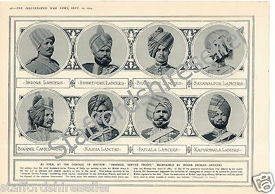 World War 1 Print 1914 Imperial Service Troops Indian Army Princes of India