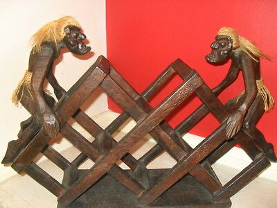 Wine Rack Solid Wooden Wine Rack primitive tribal men suit man cave bar