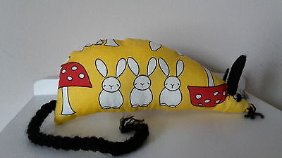 Catnip Mouse -  Yellow Rabbit & Toadstools - Handmade Cat Toy  X Strong Catnip