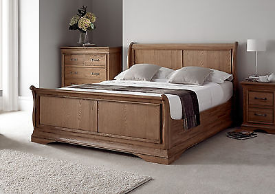 French Style Versaille Rustic Oak Sleigh Bed - Double Bed Frame Only