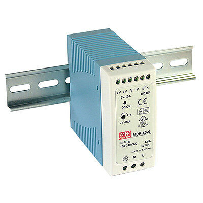 Mean Well MDR-60-24 AC to DC DIN-Rail Power Supply 24 Volt 2.5 Amp 60 Watt