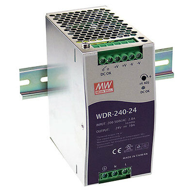 Mean Well WDR-240-24 Power Supply Din Rail Switching 240 Watt 24VDC@10A 180-550V