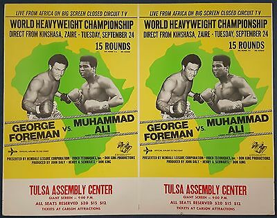 1974 MUHAMMAD ALI v GEORGE FOREMAN uncut double closed circuit poster!
