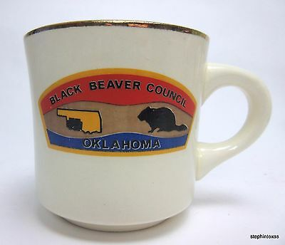 Vintage Boy Scouts of America Coffee Mug Cup BSA Black Beaver Council Oklahoma