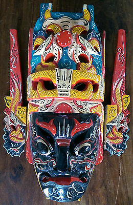 Vintage Chinese hand painted wooden opera mask