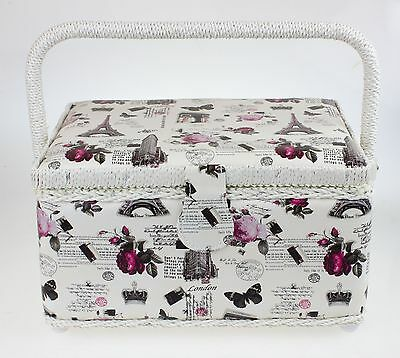 Pretty Single Lidded Sewing Basket in Cream W/ Roses Floral Print on Leatherette